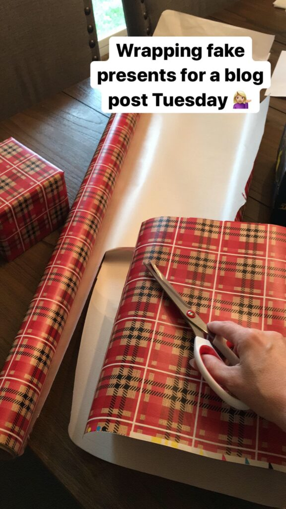Wrapping fake Christmas presents for a blog post.