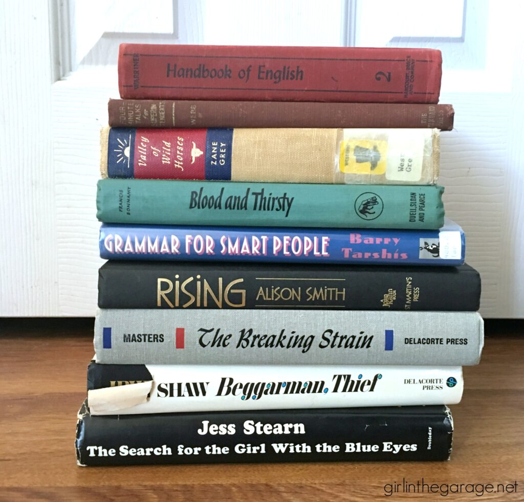Easy creative ideas for DIY repurposed book projects - How to transform an ugly discarded book into chic home decor. DIY furniture makeover and decor ideas by Girl in the Garage