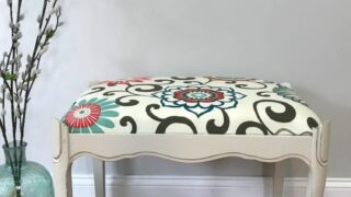 The Most Basic Tutorial for How to Reupholster - Vanity Bench Makeover