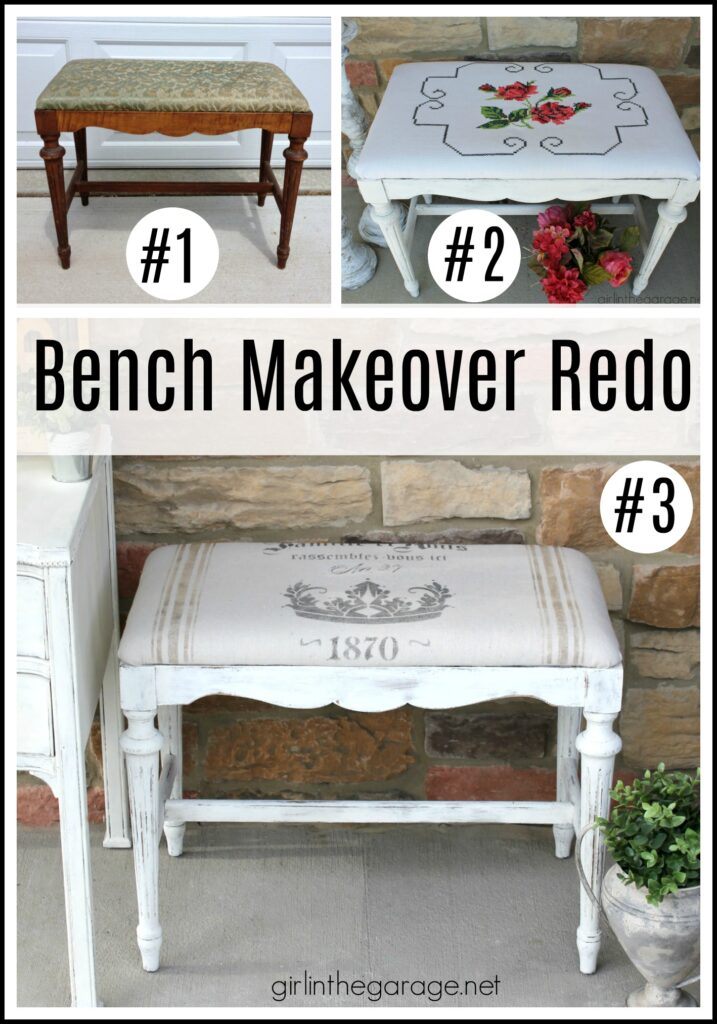 14 Creative DIY bench makeover ideas for your next thrifty furniture makeover project. Tips for upholstery, wood, headboard, and stenciled benches. DIY furniture makeover and decor ideas by Girl in the Garage.