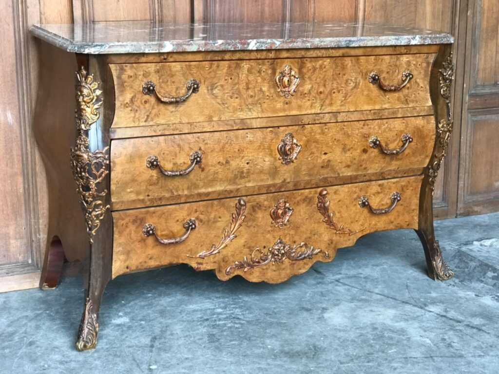 Burl Kingwood Marble Top And Ormolu Bronze Mounted Louis XV Chest Of Drawers