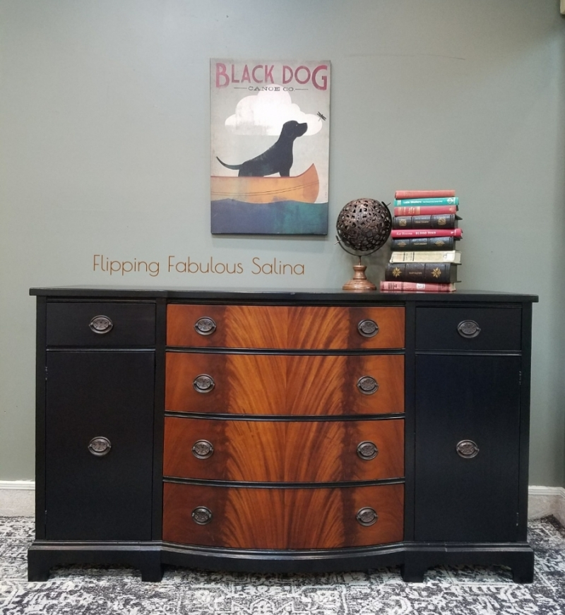 Black painted burl wood buffet by Flipping Fabulous Salina, featured on the General Finishes website