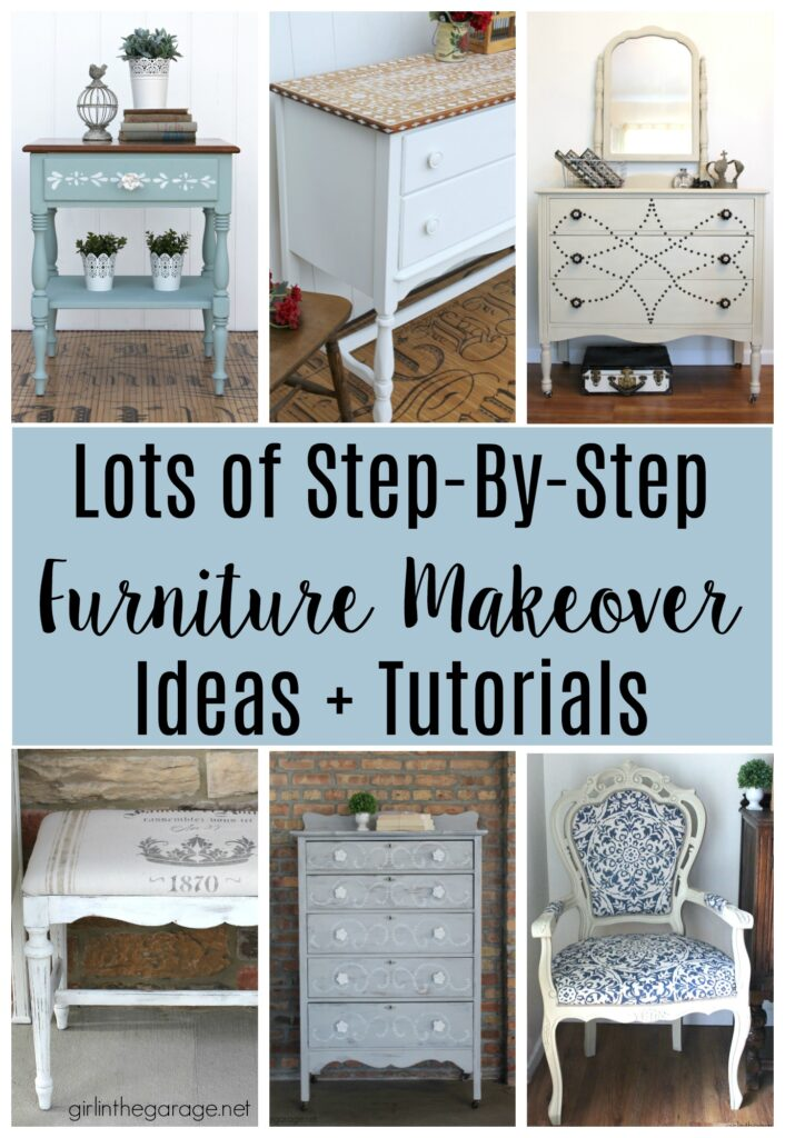 Be inspired by these DIY furniture makeovers on thrifted and vintage pieces by Girl in the Garage.