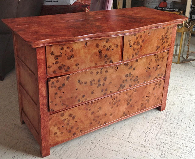 Painted faux burled wood dresser by Gorgeous Shiny Things blog