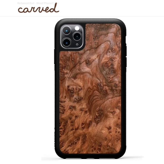 Redwood burl wood phone case by Carved.