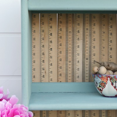 Painted Bookcase with Repurposed Yardsticks