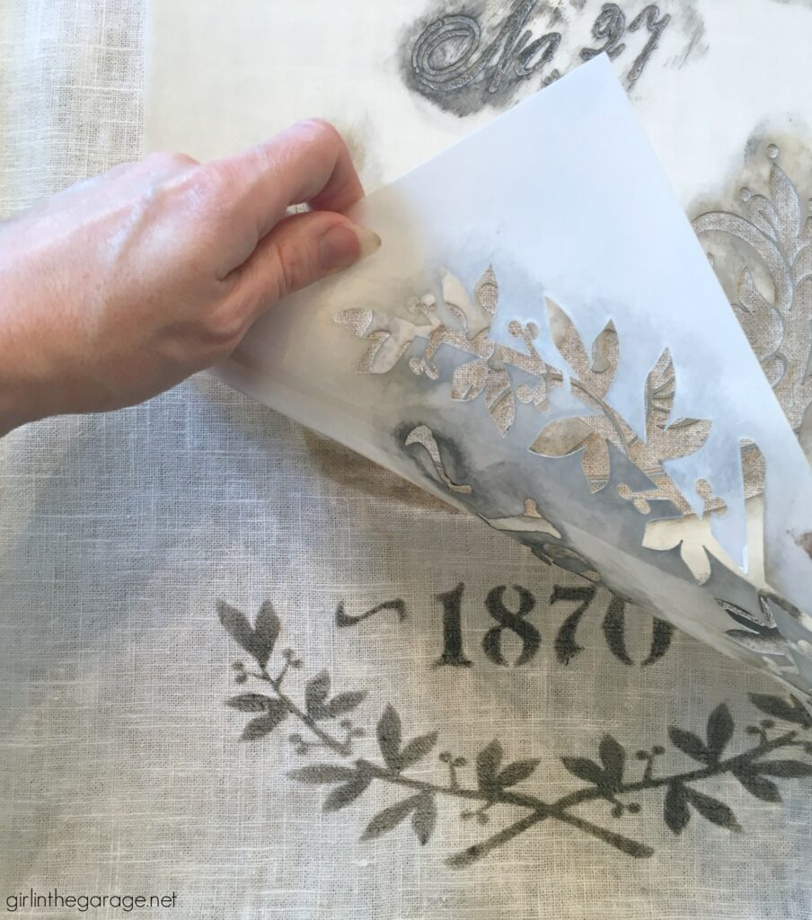 Make custom DIY home decor - learn how to stencil pillows on IKEA products. Gorgeous vintage inspired French throw pillows by Girl in the Garage.