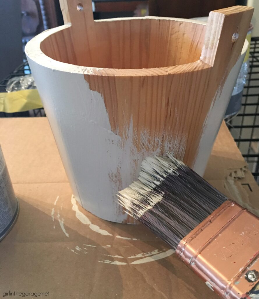 How to Chalk Paint and stencil a wooden bucket for flowers. Creative DIY home decor ideas by Girl in the Garage