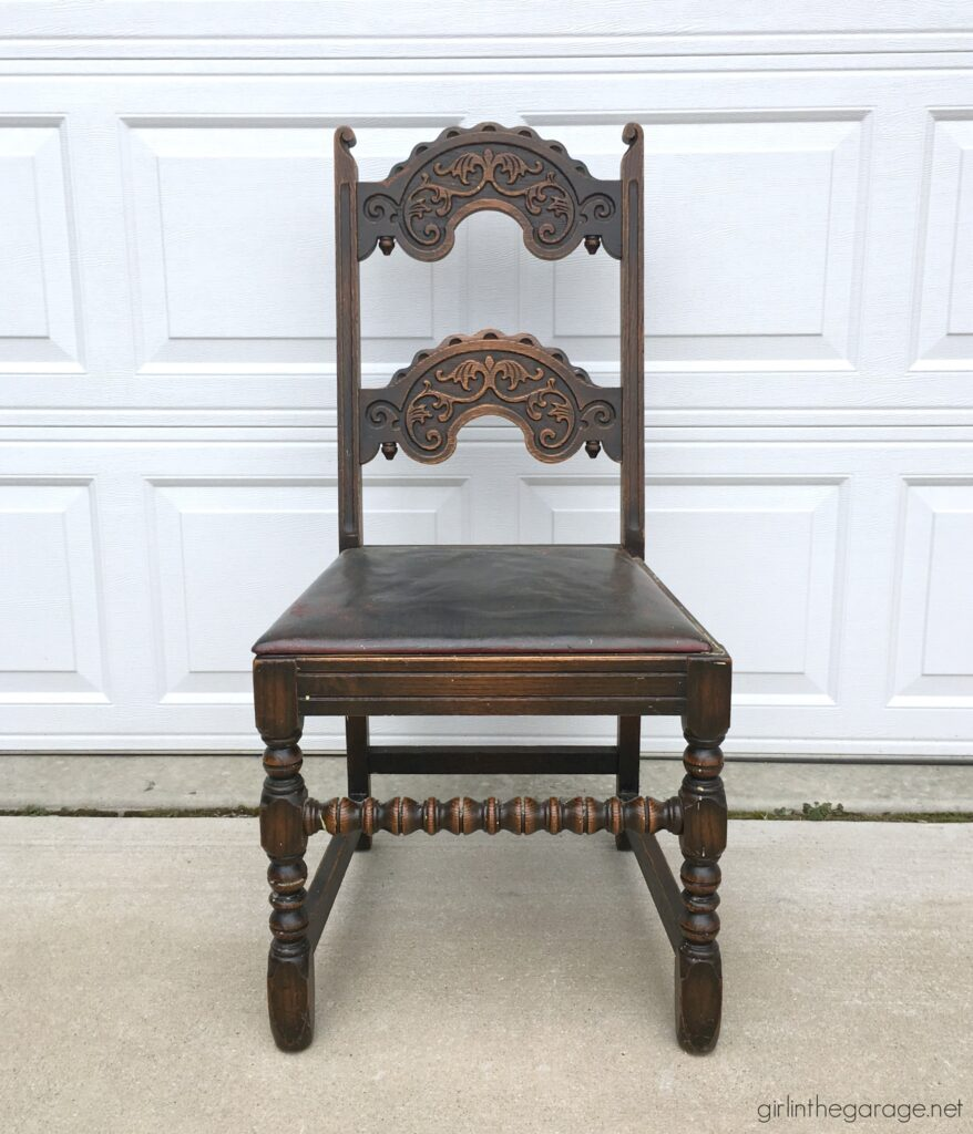 Before: Gorgeous painted antique chair makeover with Chalk Paint and reupholstered seat. Furniture makeover and DIY decor ideas by Girl in the Garage.
