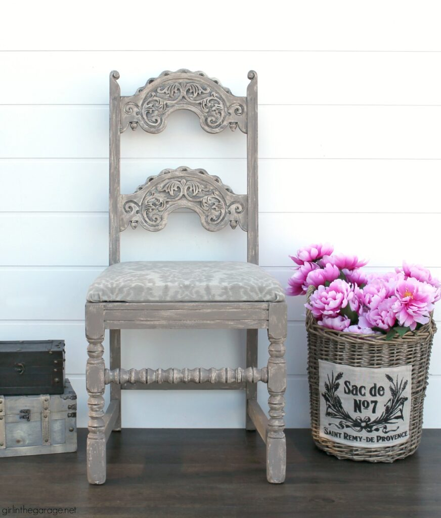 Gorgeous painted antique chair makeover with Chalk Paint and reupholstered seat. Furniture makeover and DIY decor ideas by Girl in the Garage.