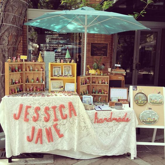 Outdoor market vendor space by Jessica Jane Handmade.