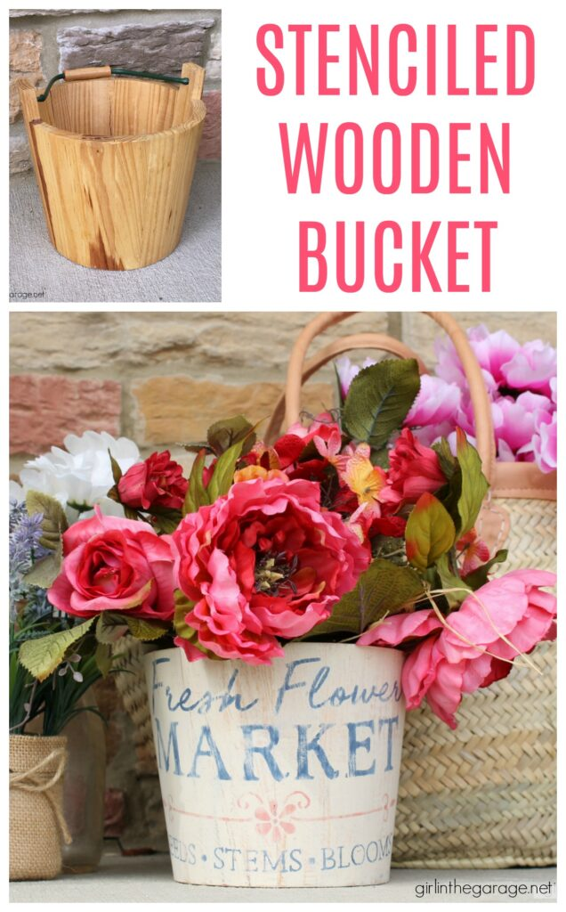 Create a gorgeous home for your flowers with this stenciled wooden flower bucket project. It's easy and beautiful decor. DIY home decor ideas by Girl in the Garage