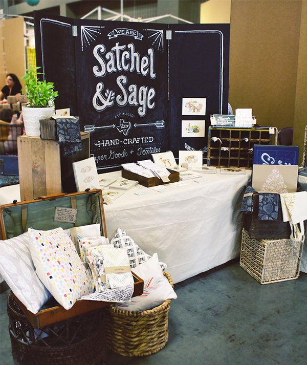 Satchel and Sage paper goods market booth