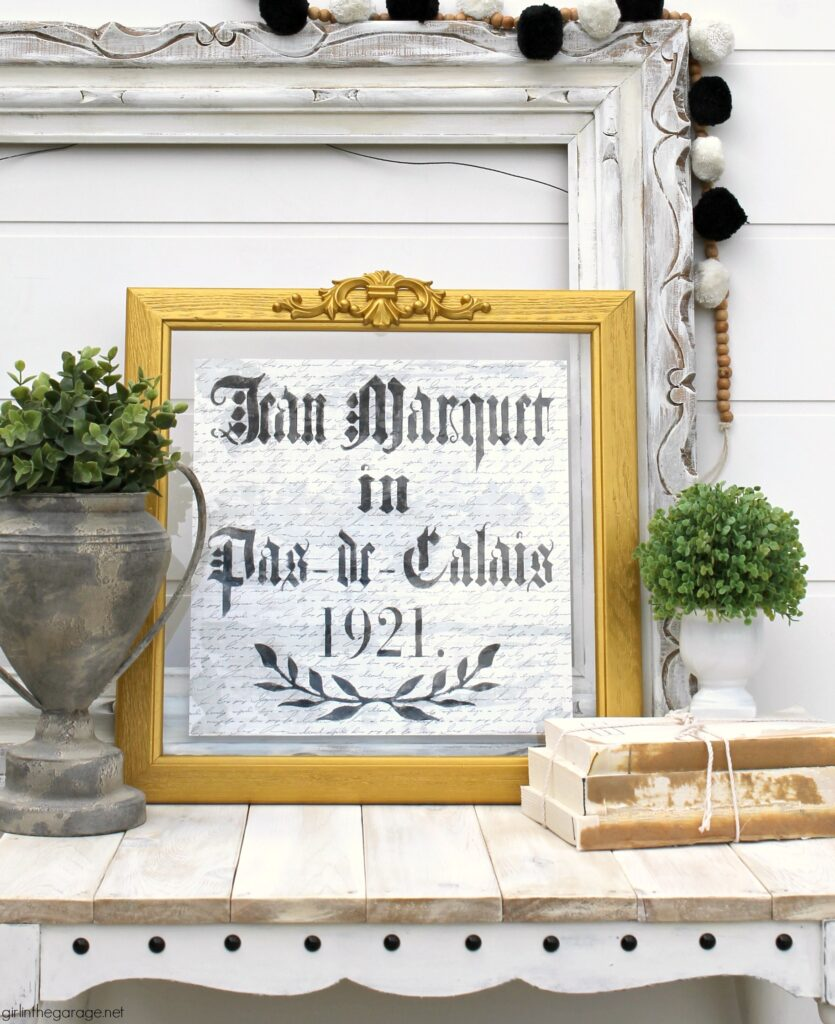 Thrifted repurposed wall art to glamorous DIY vintage French decor - Upcycled decor and furniture makeover ideas by Girl in the Garage