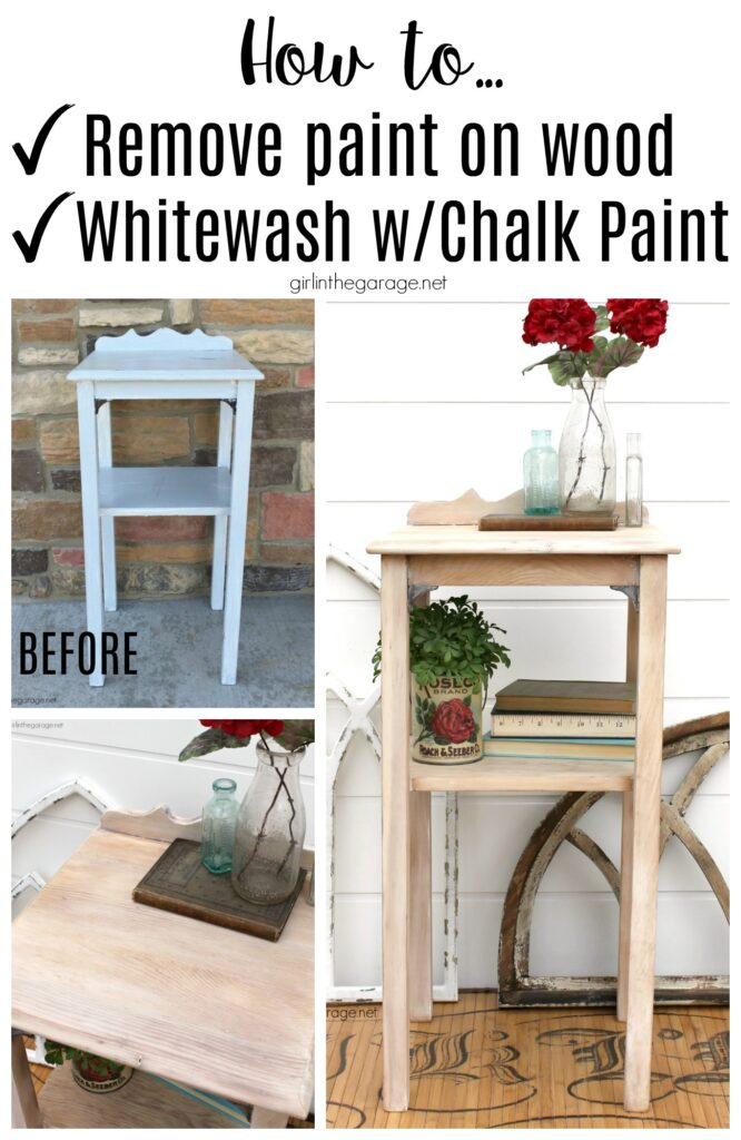 How to remove paint from wood and whitewash furniture with Chalk Paint - Furniture makeover ideas by Girl in the Garage