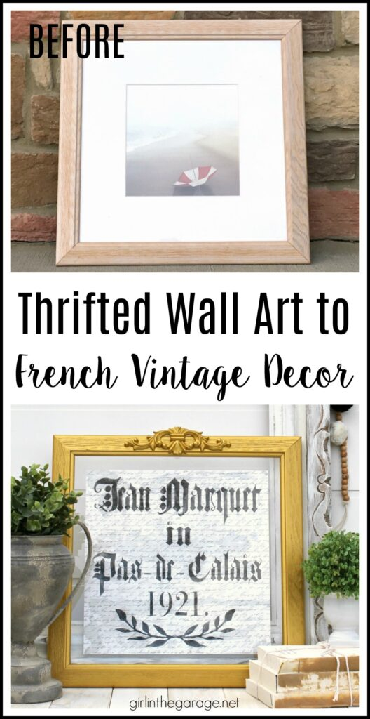 Thrifted repurposed wall art to DIY vintage French decor - Upcycled decor and furniture makeover ideas by Girl in the Garage
