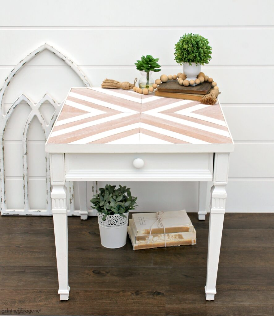 Learn how to make a DIY wood mosaic table top for a stunning furniture makeover. Creative painted furniture ideas by Girl in the Garage