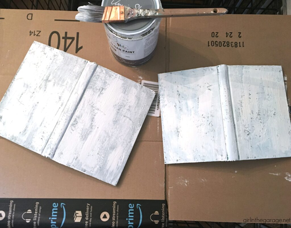 Paint vintage books with Chalk Paint - Repurposed book project ideas by Girl in the Garage