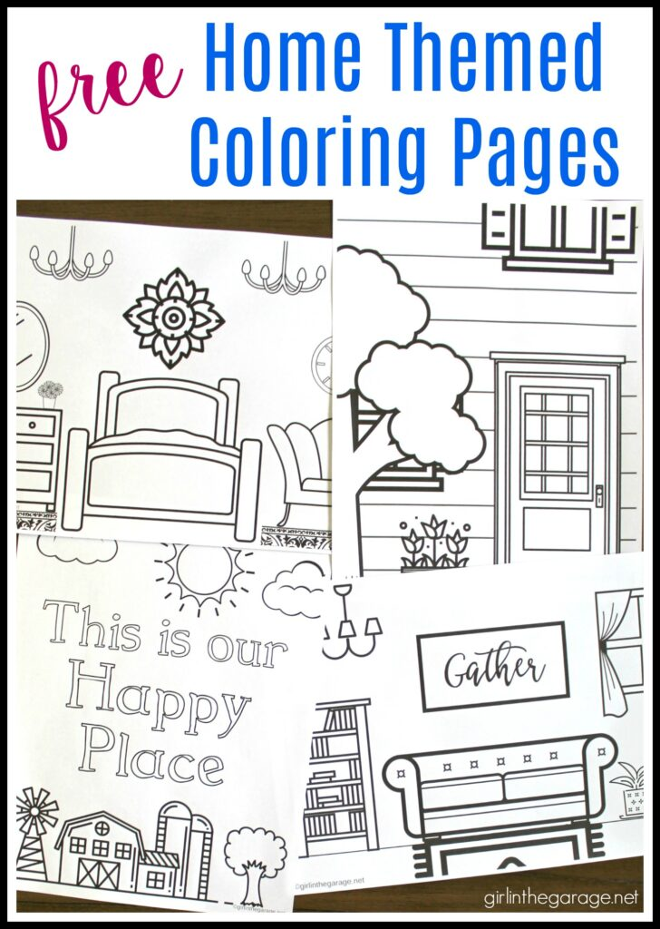 Free printable house coloring pages for adults. Four designs - bedroom, living room, house front door, and farm. By Girl in the Garage