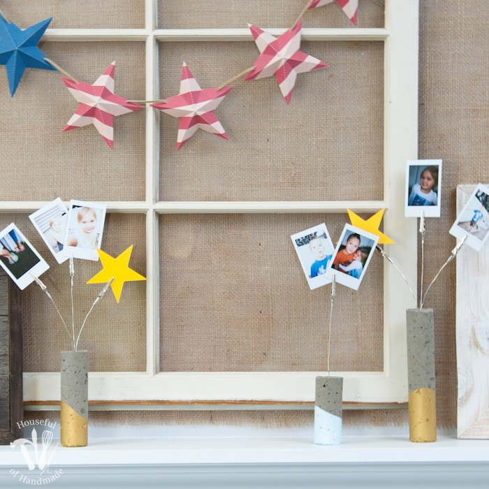 Concrete Firework Picture Holders and Patriotic Mantle Reveal