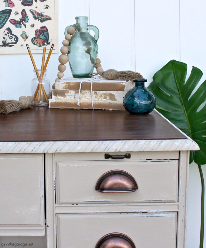 Transform a boring desk with Chalk Paint and new hardware. Learn how to Chalk Paint a wood desk. DIY painted furniture ideas by Girl in the Garage