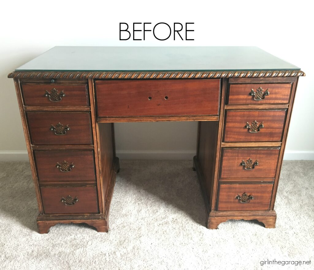 Transform a plain desk with Chalk Paint and new hardware. Learn how to Chalk Paint a wood desk. DIY painted furniture ideas by Girl in the Garage
