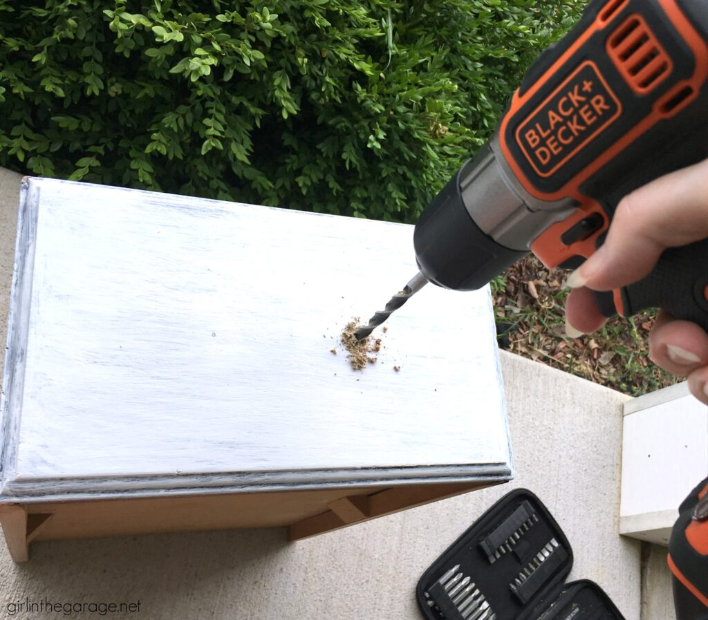 How to measure and drill new holes for drawer hardware. DIY painted furniture ideas by Girl in the Garage