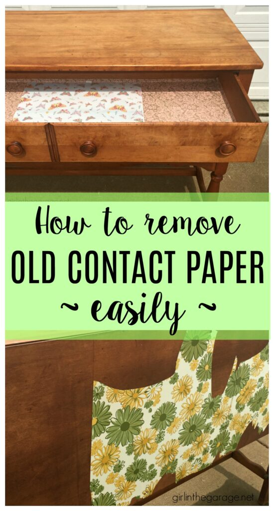 How to remove contact paper the easy way - Furniture makeover tips by Girl in the Garage