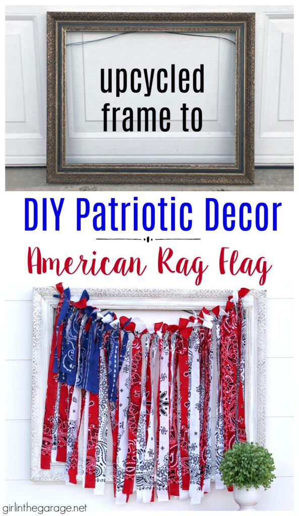 Make this festive DIY rag flag with bandanas for your 4th of July decor. Celebrate the summer with amazing DIY patriotic home decor ideas. By Girl in the Garage