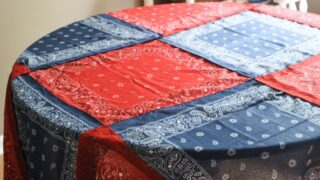 How To Make A No-Sew Patriotic Tablecloth From Bandanas