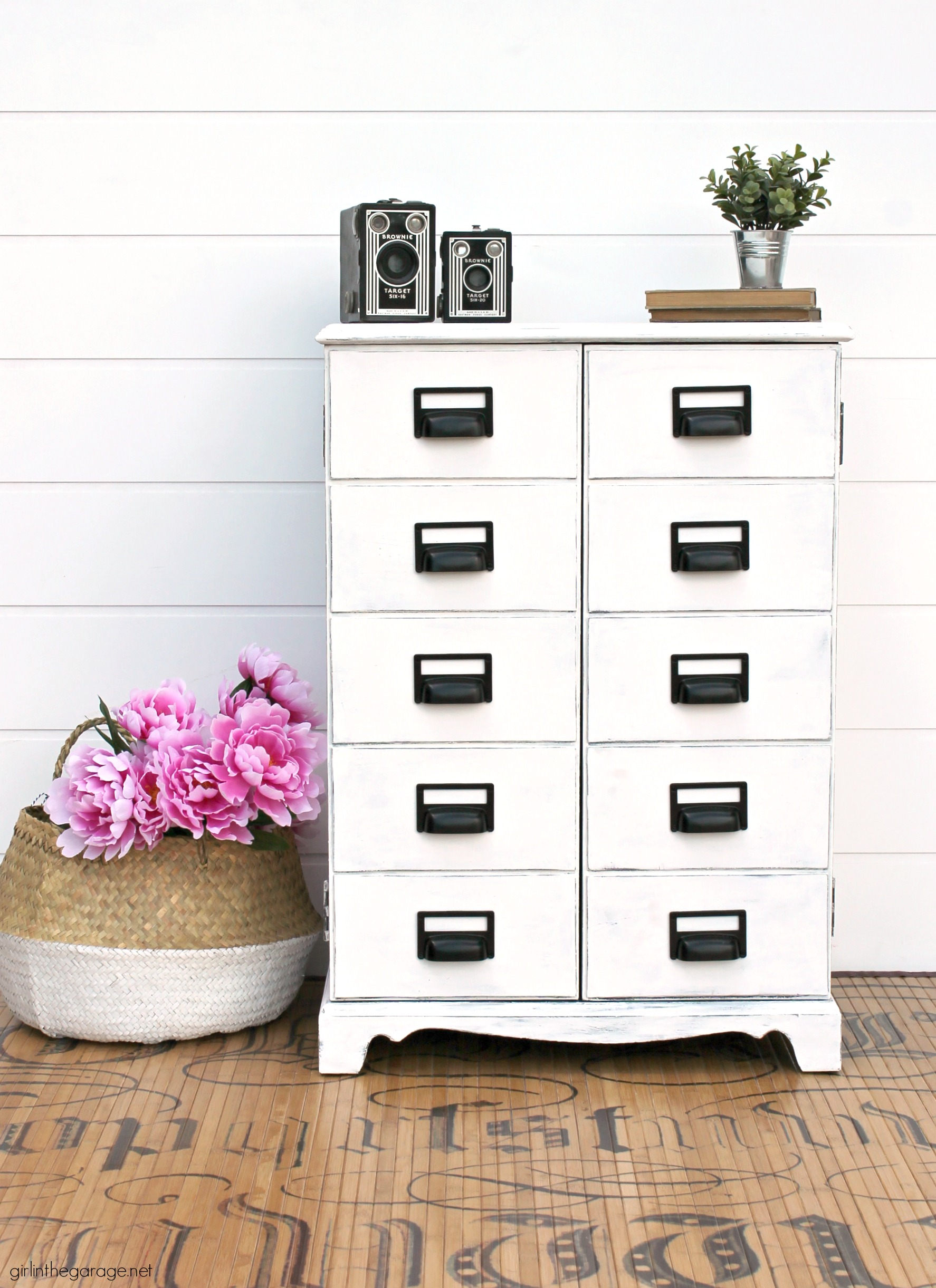 Curbside freebie to DIY Apothecary Cabinet - Painted furniture ideas by Girl in the Garage
