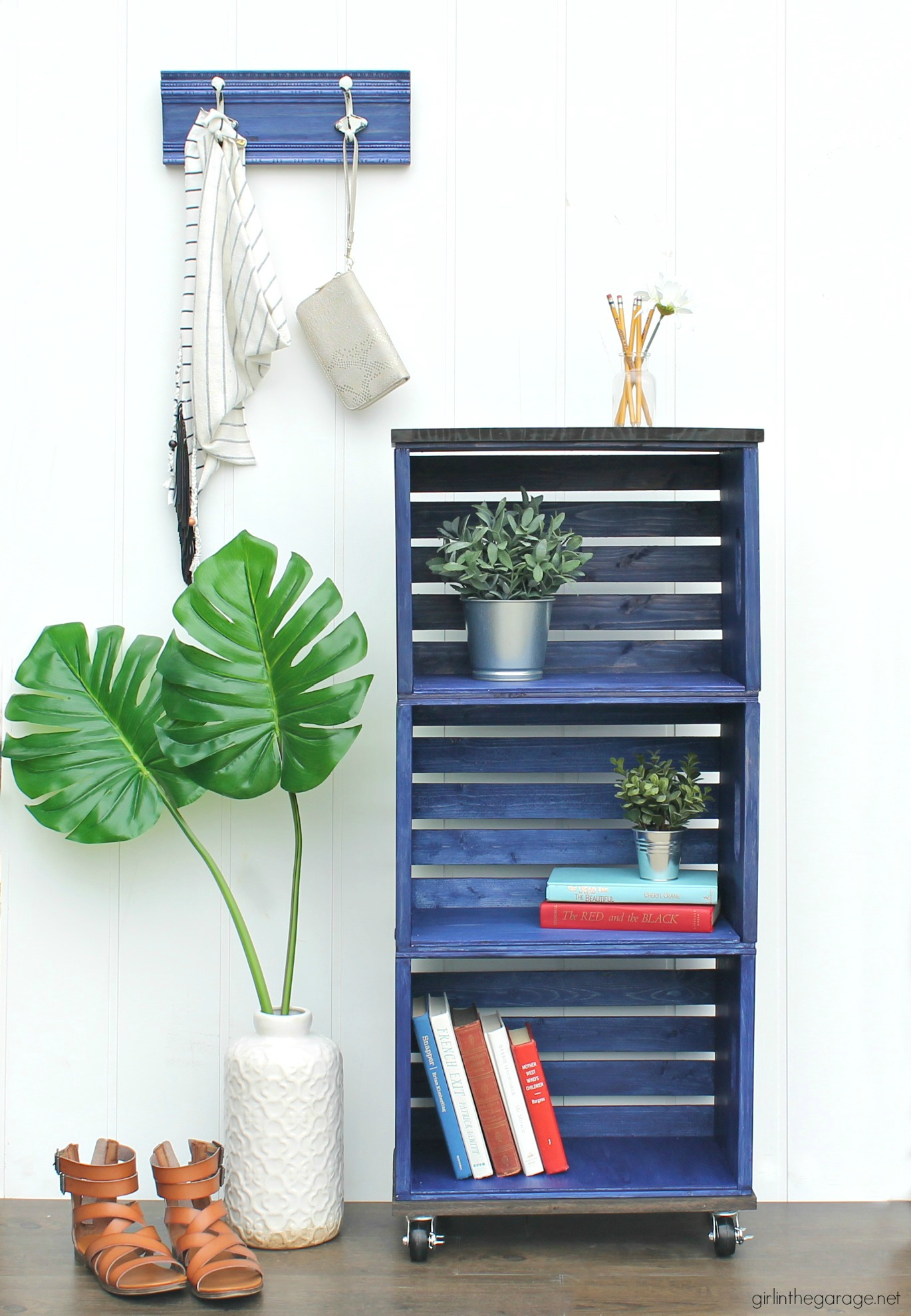 How to Build and Stain a Wooden Crate Bookshelf - Girl in the Garage