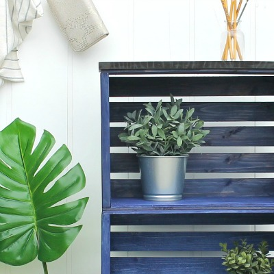 How To Build And Stain A Wooden Crate Bookshelf Girl In The Garage