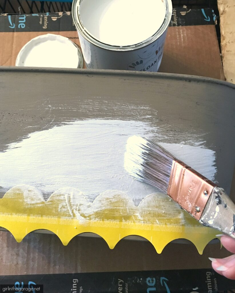 How to Chalk Paint a Thrifted Metal Caddy. Save money with these clever thrifted home decor ideas by Girl in the Garage