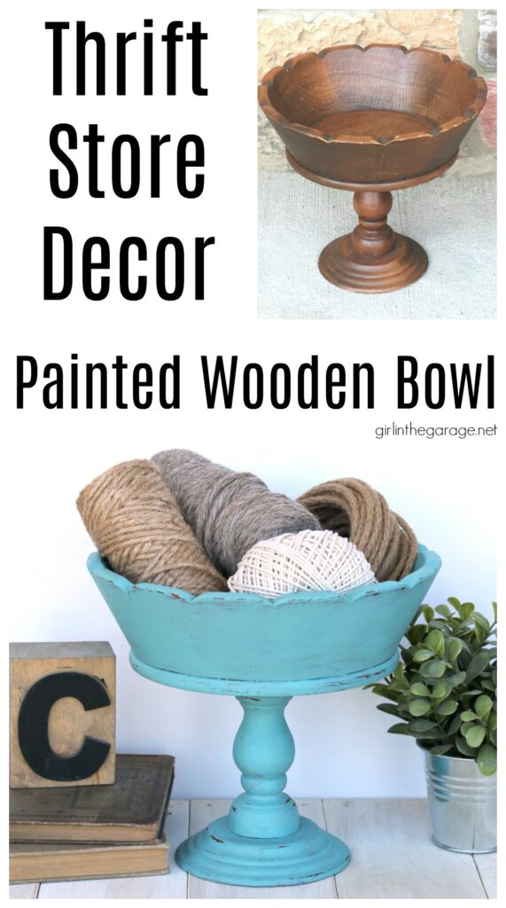 How to Chalk Paint a Wooden Bowl. Save money with these clever thrifted home decor ideas by Girl in the Garage