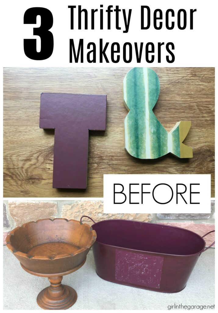 Save money with these clever thrifted home decor ideas by Girl in the Garage. These beautiful thrift store makeovers will fool your friends without breaking the bank!