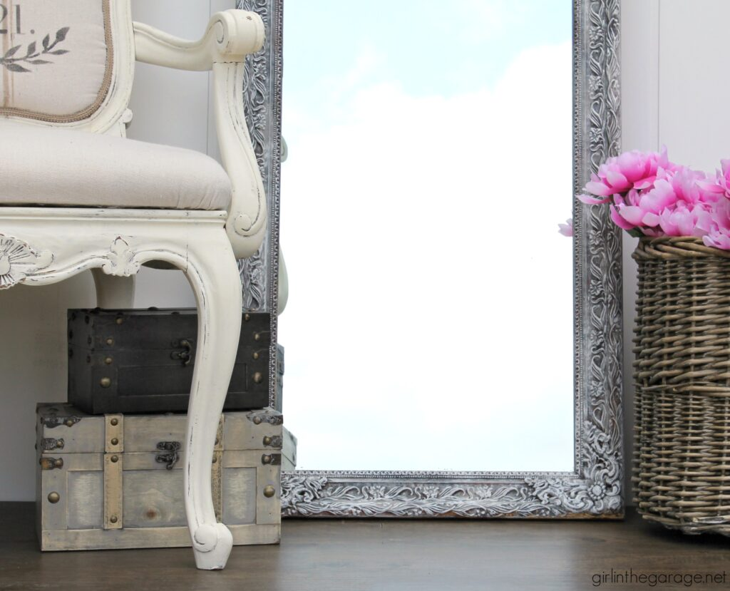 Learn how painting a mirror frame with Chalk Paint can give you a beautiful new look on a budget. See how two vintage mirrors were updated easily! DIY makeover ideas by Girl in the Garage