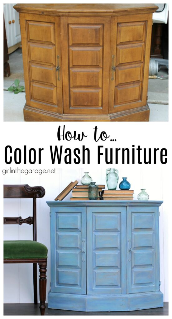 How to easily color wash and blend paint colors for a brilliant, unique finish. Turn your furniture into works of art! Written tutorial with video by Girl in the Garage