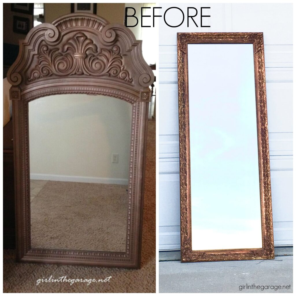 Painting a mirror frame can be easy, beautiful, and budget-friendly. Painted mirror frame ideas by Girl in the Garage