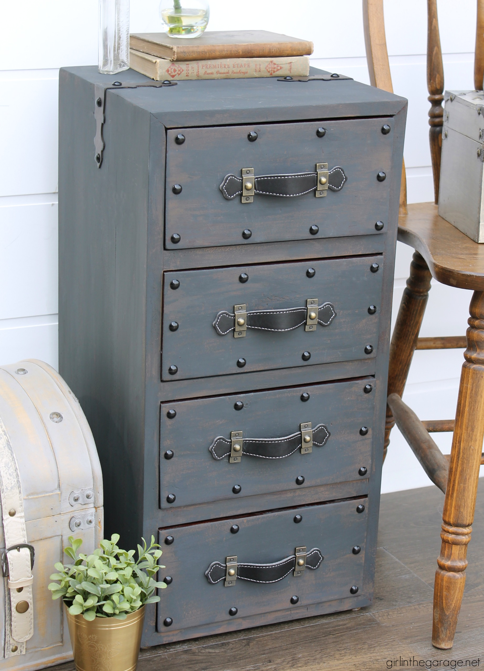 Vintage Steamer Trunk Painted Nightstand - DIY Painted Furniture Ideas by Girl in the Garage