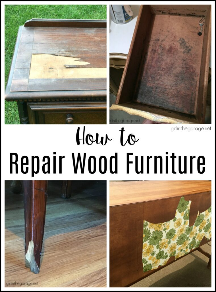 How to repair wood furniture including: fix cracked veneer, gouges, broken pieces, remove contact paper, ink stained drawers, and more common problems. Furniture makeover advice by Girl in the Garage