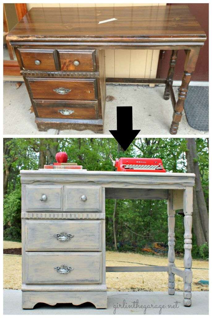 Vintage painted desk makeover by Girl in the Garage