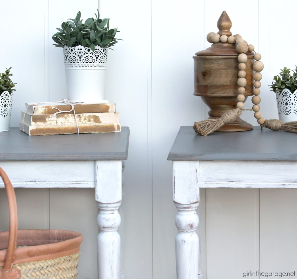 Create a charming modern farmhouse finish with Minwax Wood Finish Semi-Transparent Color Stain on these stained and painted side tables. DIY makeover ideas by Girl in the Garage