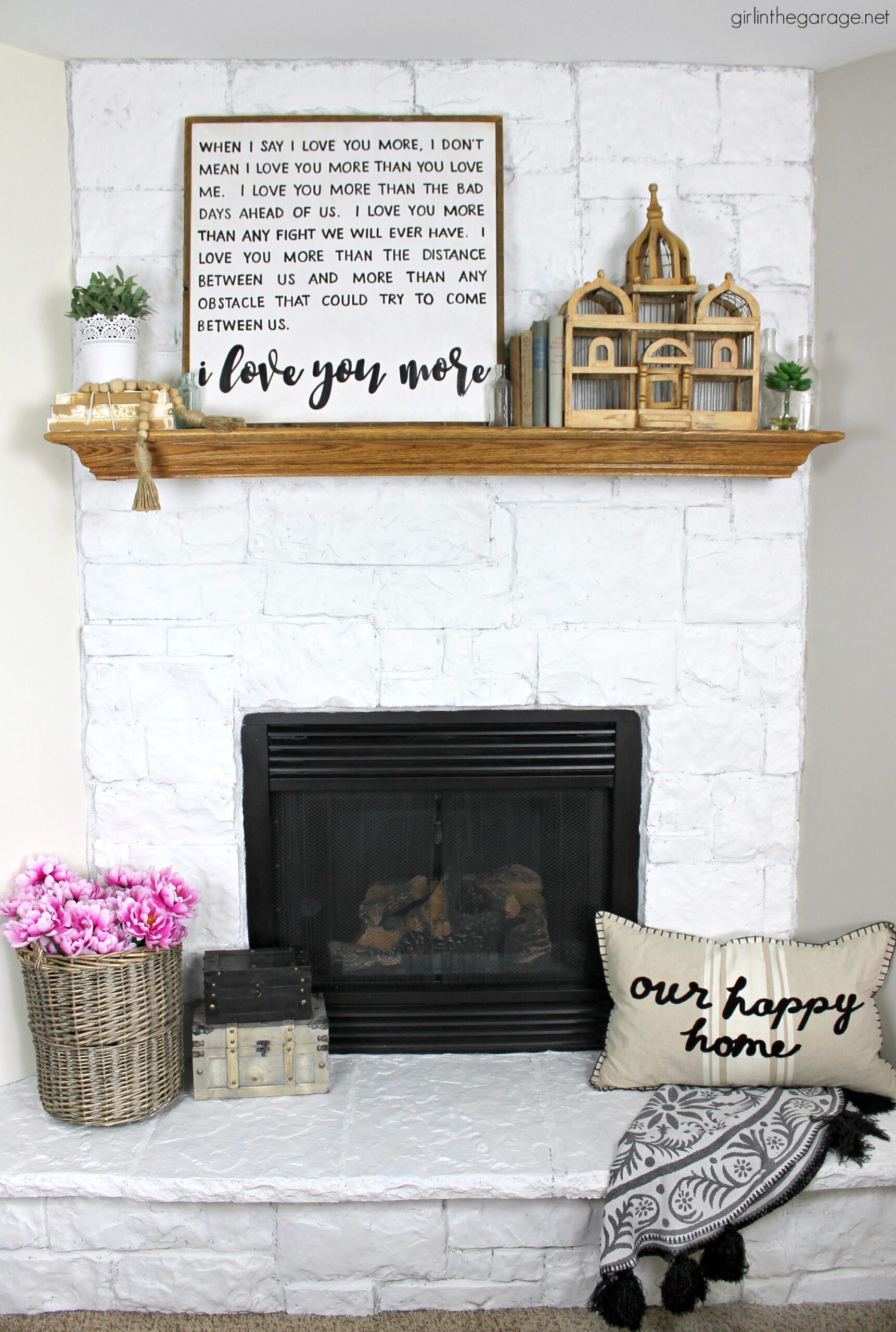How to easily paint a stone fireplace Alabaster white with helpful Purdy products meant for rough surfaces. #ad DIY makeover ideas by Girl in the Garage
