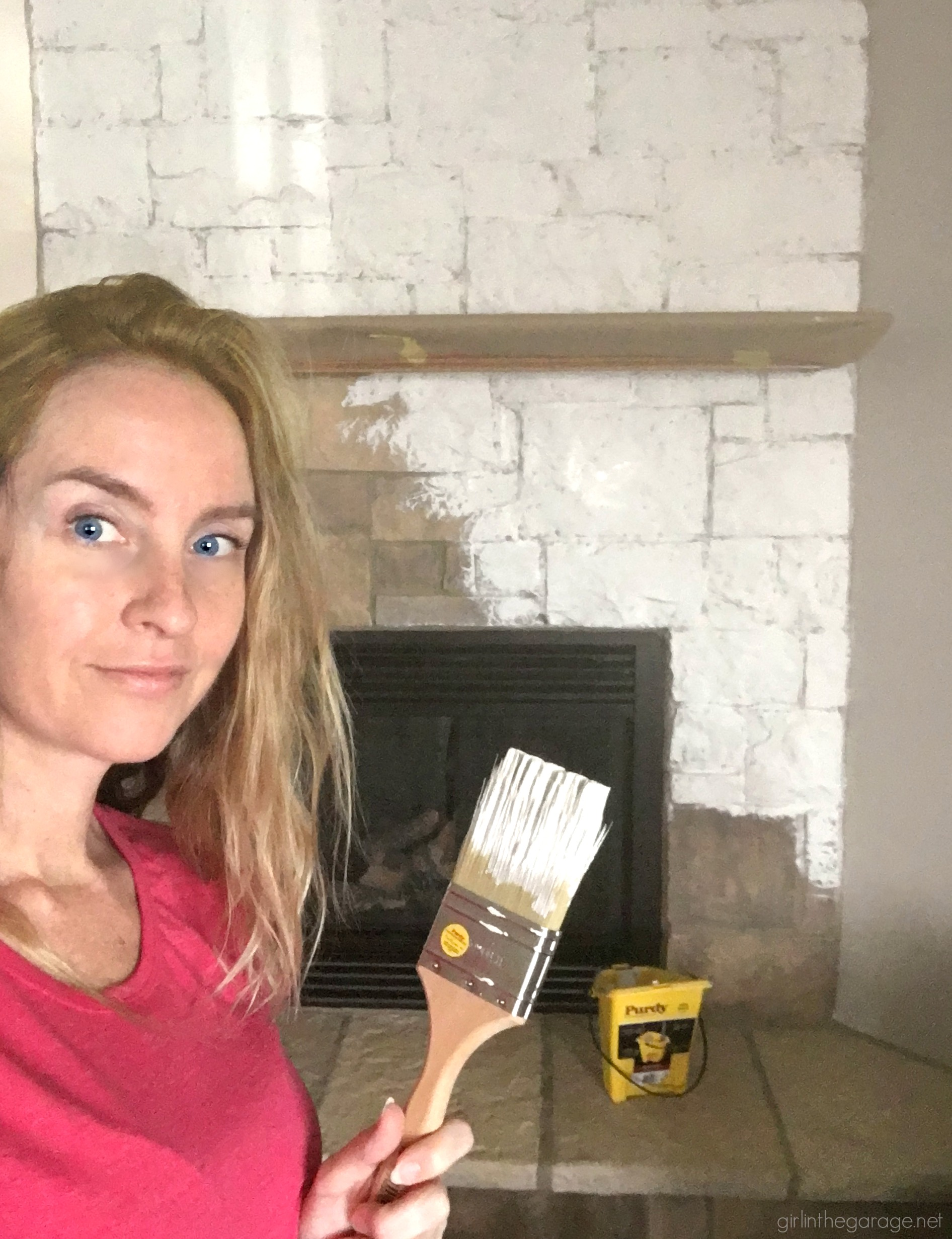 How to easily paint a stone fireplace white with helpful Purdy products meant for rough surfaces. #ad DIY makeover ideas by Girl in the Garage