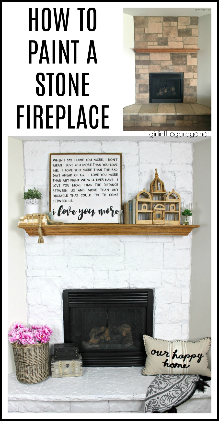 How to Paint a Stone Fireplace White - Girl in the Garage