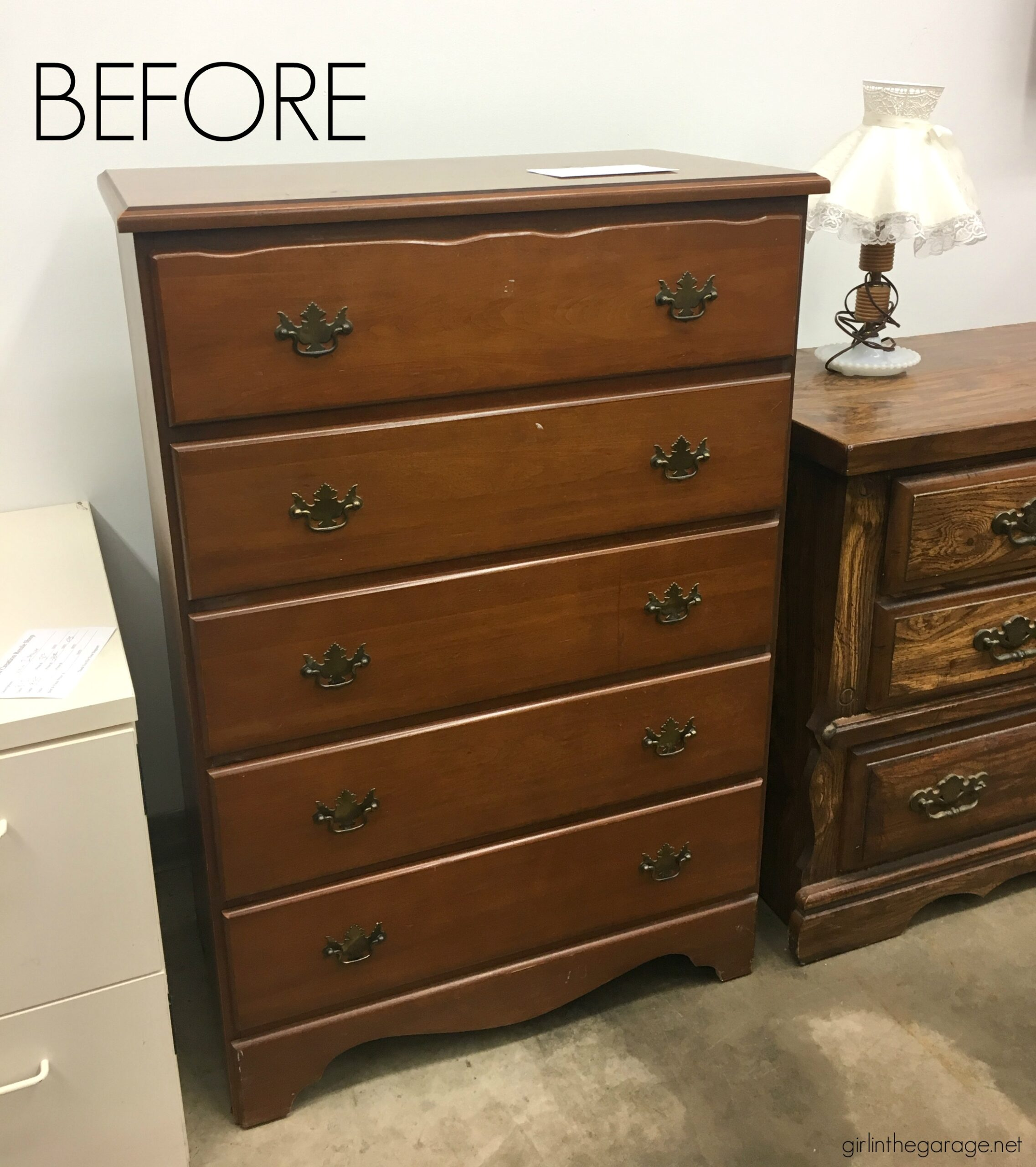 Give old furniture lots of charm with painted stripes and numbers. Learn how to easily paint stripes on a dresser with tape and a high quality Purdy paint brush. #ad DIY painted furniture ideas by Girl in the Garage