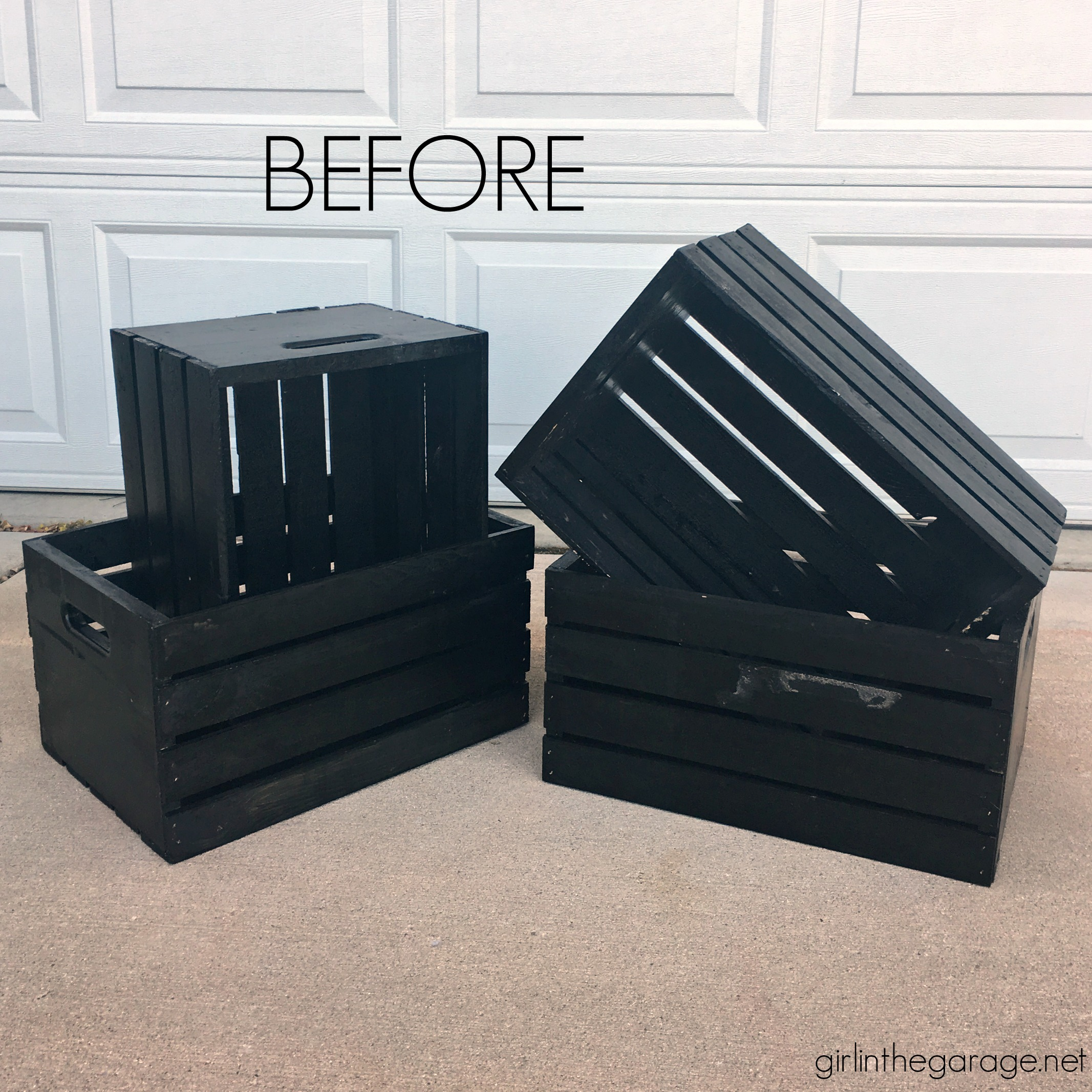 How to paint holiday crates - Learn how to stencil wooden crates for both fall and Christmas decor. Step by step tutorial by Girl in the Garage.
