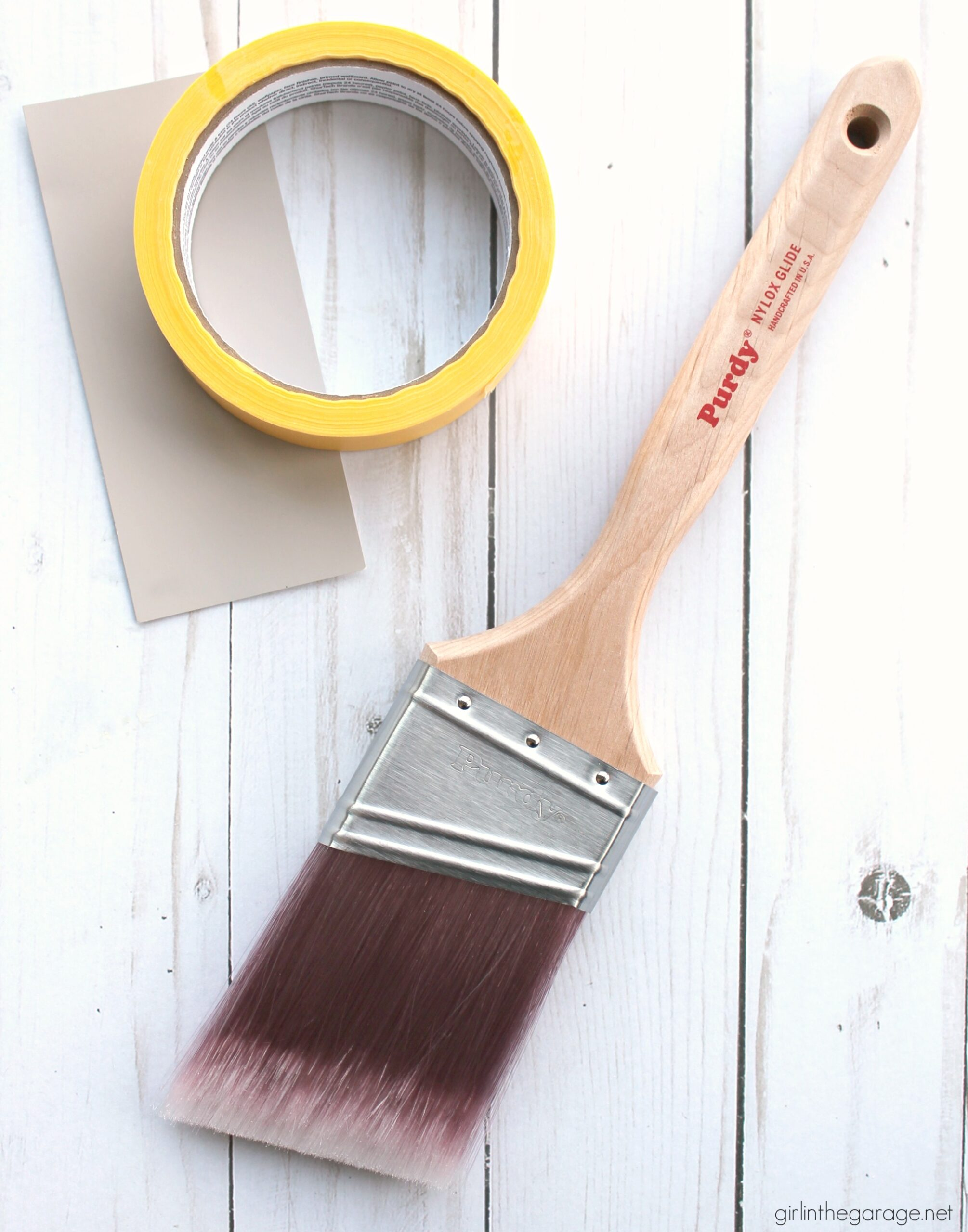 How to choose the right paint brush for your next project. Confidently paint furniture, walls, trim, brick, and cabinets with Purdy painting tools. #ad DIY painted furniture and decor ideas by Girl in the Garage