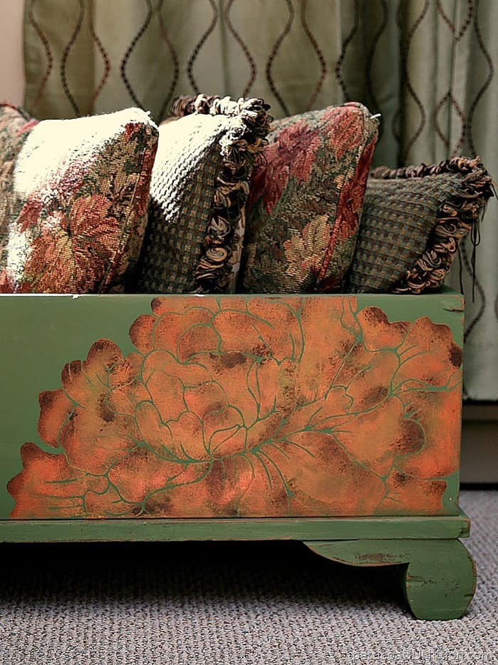 Painted Stenciled Cedar Chest (with missing lid) by Petticoat Junktion